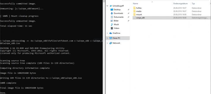 Erstellen eines modifizierten WinPE Bootsstick unter Windows 10 1803 x86