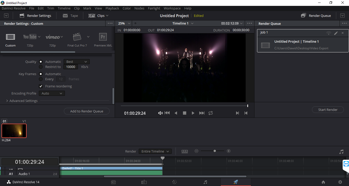 davinci resolve 14 export render job